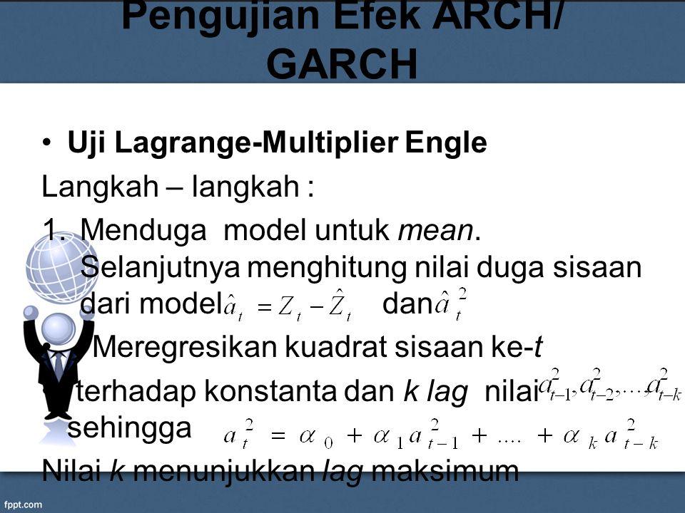 Pengujian Efek ARCH/ GARCH Uji Lagrange-Multiplier Engle Langkah – langkah : 1.Menduga model untuk mean. Selanjutnya menghitung nilai duga sisaan dari