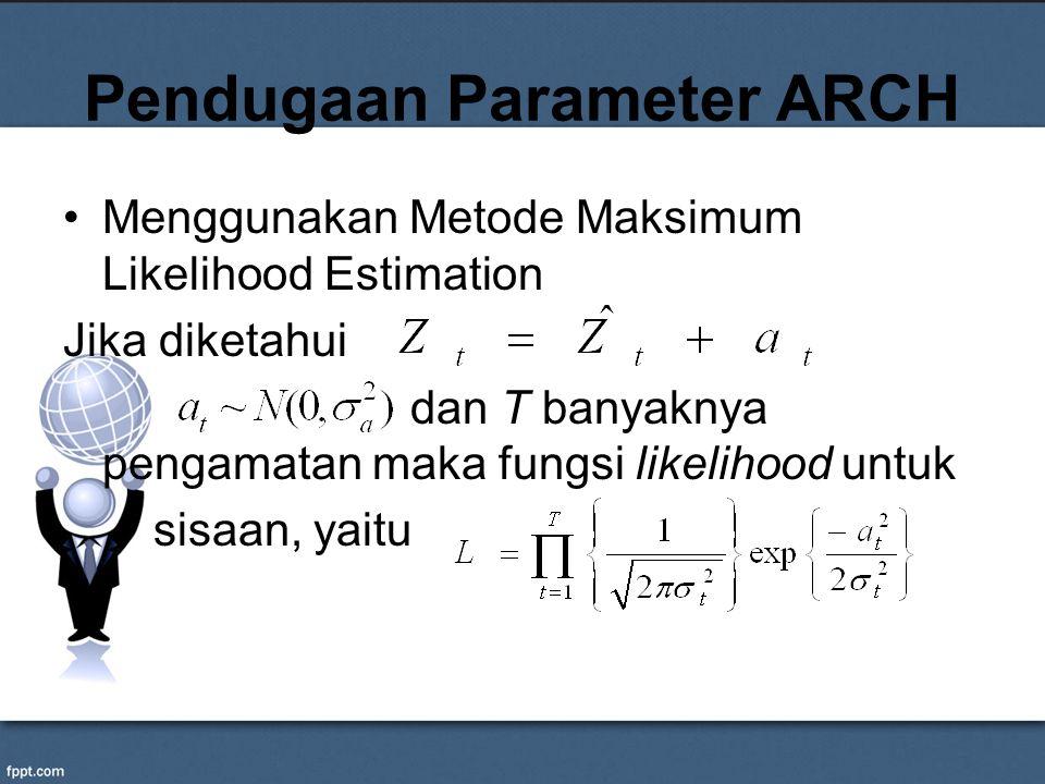 Pendugaan Parameter ARCH Menggunakan Metode Maksimum Likelihood Estimation Jika diketahui dan T banyaknya pengamatan maka fungsi likelihood untuk sisa