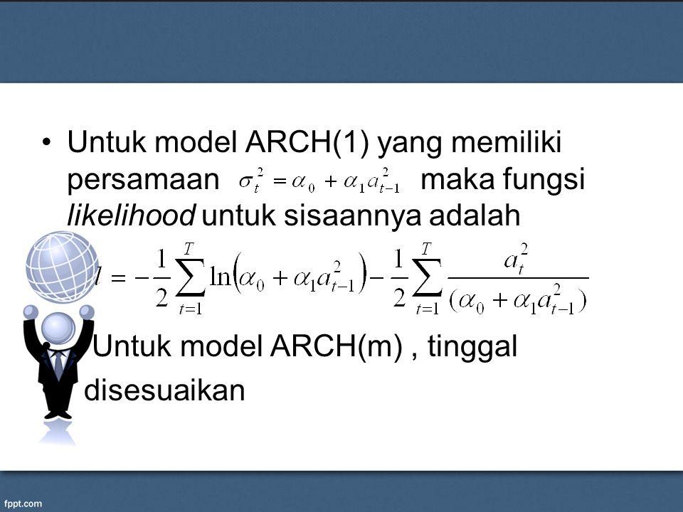 Untuk model ARCH(1) yang memiliki persamaan maka fungsi likelihood untuk sisaannya adalah Untuk model ARCH(m), tinggal disesuaikan