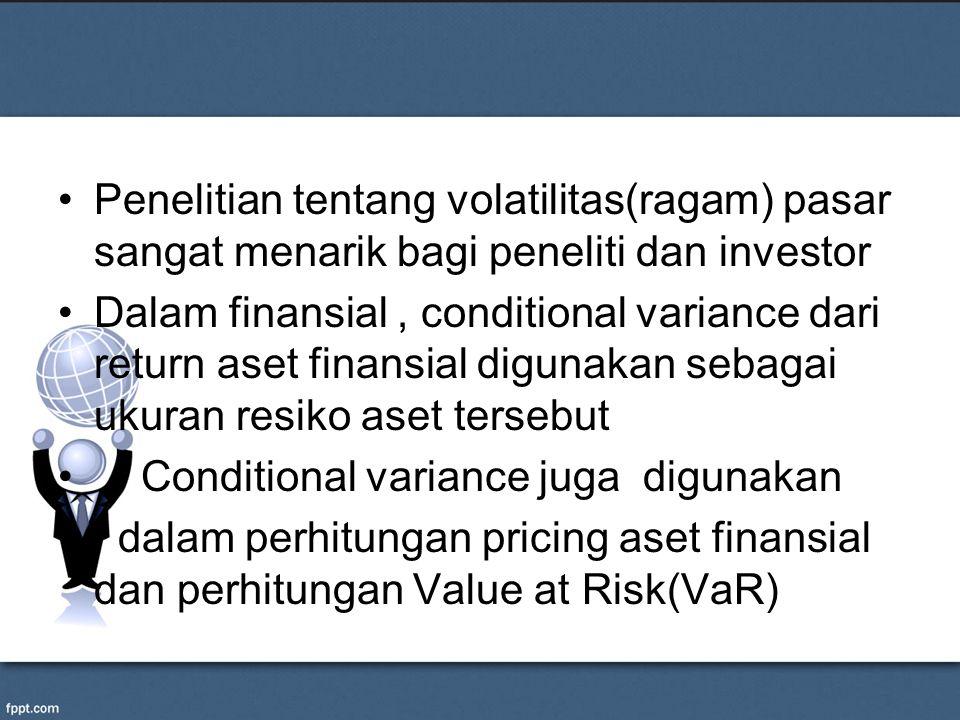 Penelitian tentang volatilitas(ragam) pasar sangat menarik bagi peneliti dan investor Dalam finansial, conditional variance dari return aset finansial