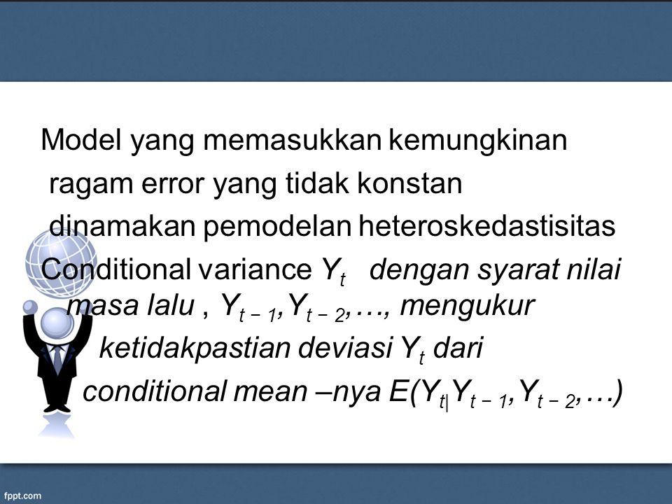 Model yang memasukkan kemungkinan ragam error yang tidak konstan dinamakan pemodelan heteroskedastisitas Conditional variance Y t dengan syarat nilai