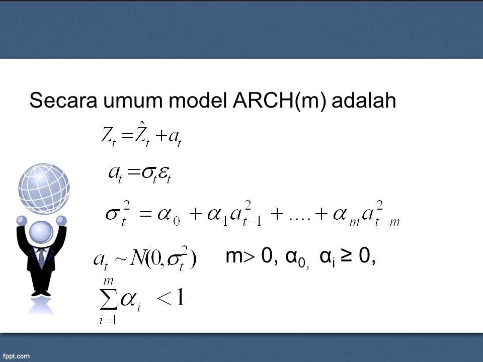 Secara umum model ARCH(m) adalah, m  0, α 0, α i ≥ 0,