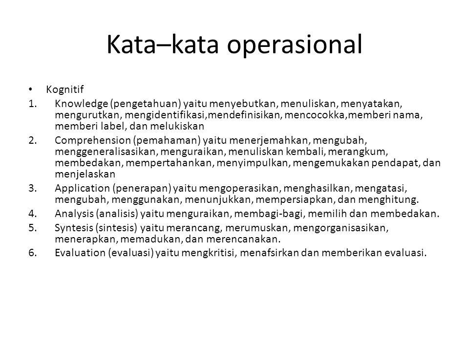 Kata–kata operasional Kognitif 1.Knowledge (pengetahuan) yaitu menyebutkan, menuliskan, menyatakan, mengurutkan, mengidentifikasi,mendefinisikan, mencocokka,memberi nama, memberi label, dan melukiskan 2.Comprehension (pemahaman) yaitu menerjemahkan, mengubah, menggeneralisasikan, menguraikan, menuliskan kembali, merangkum, membedakan, mempertahankan, menyimpulkan, mengemukakan pendapat, dan menjelaskan 3.Application (penerapan) yaitu mengoperasikan, menghasilkan, mengatasi, mengubah, menggunakan, menunjukkan, mempersiapkan, dan menghitung.