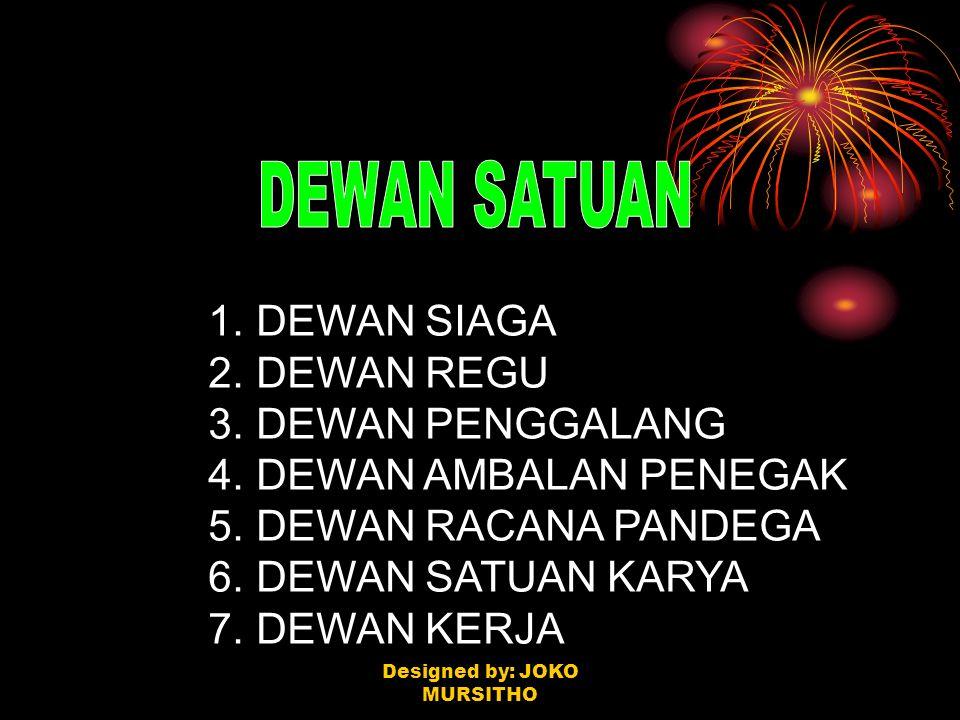 1. DEWAN SIAGA 2. DEWAN REGU 3. DEWAN PENGGALANG 4. DEWAN AMBALAN PENEGAK 5. DEWAN RACANA PANDEGA 6. DEWAN SATUAN KARYA 7. DEWAN KERJA Designed by: JO