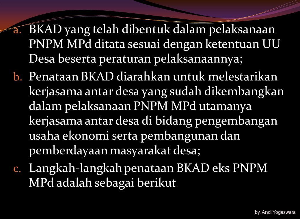 Untuk melestarikan Kerjasama antar Desa yg dikembangkan oleh PNPM MPd; Menyepakati dana bergulir tetap milik masy melalui representasi kepemilikan des