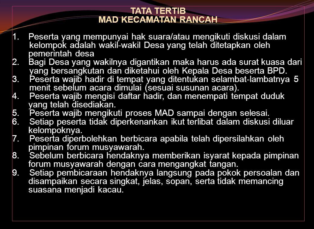 Alur Penyelesaian Tahapan Kegiatan PNPM MPd Sosialisasi  MAD di Kec.