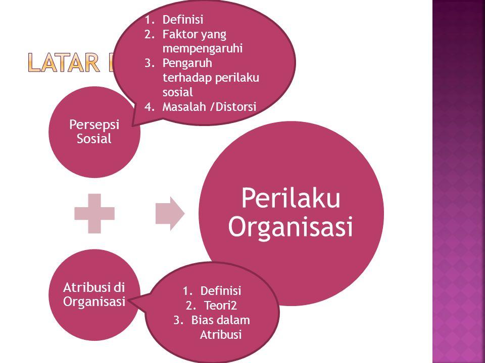 Persepsi Sosial Atribusi di Organisasi Perilaku Organisasi 1.Definisi 2.Faktor yang mempengaruhi 3.Pengaruh terhadap perilaku sosial 4.Masalah /Distorsi 1.Definisi 2.Teori2 3.Bias dalam Atribusi