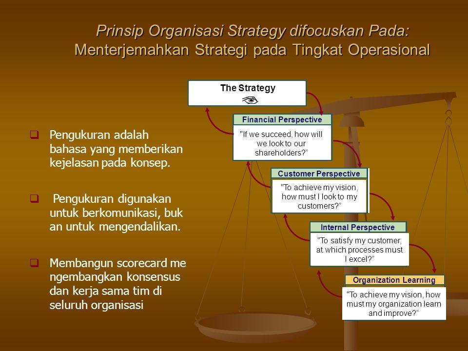 Prinsip Organisasi Strategy difocuskan Pada: Menterjemahkan Strategi pada Tingkat Operasional  Pengukuran adalah bahasa yang memberikan kejelasan pada konsep.