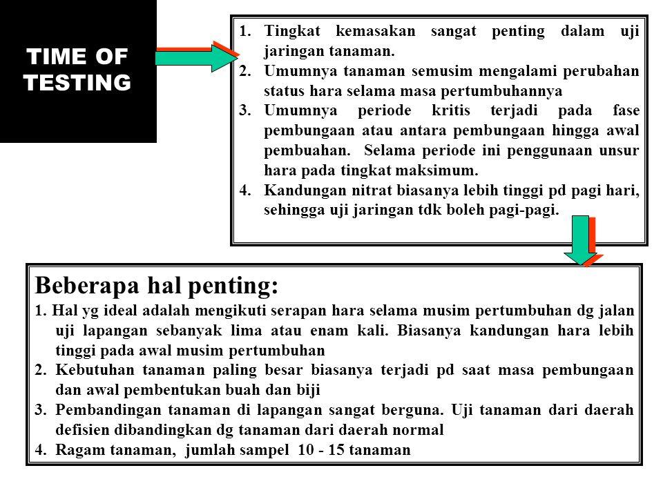 TIME OF TESTING 1.Tingkat kemasakan sangat penting dalam uji jaringan tanaman. 2.Umumnya tanaman semusim mengalami perubahan status hara selama masa p