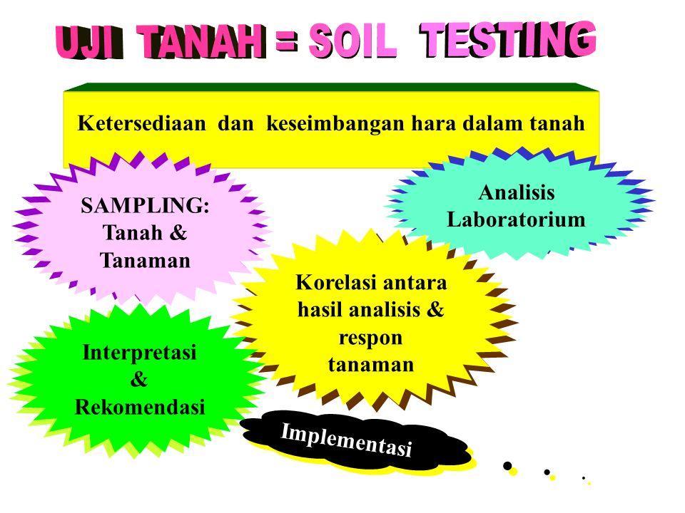 Ketersediaan dan keseimbangan hara dalam tanah SAMPLING: Tanah & Tanaman Analisis Laboratorium Korelasi antara hasil analisis & respon tanaman Interpr