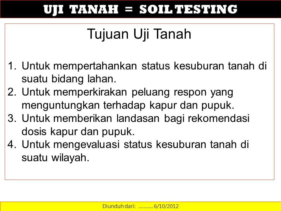 UJI TANAH = SOIL TESTING Diunduh dari: ……….. 6/10/2012 Tujuan Uji Tanah 1.Untuk mempertahankan status kesuburan tanah di suatu bidang lahan. 2.Untuk m