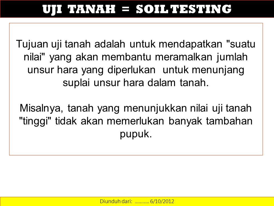 UJI TANAH = SOIL TESTING Diunduh dari: ……….. 6/10/2012 Tujuan uji tanah adalah untuk mendapatkan