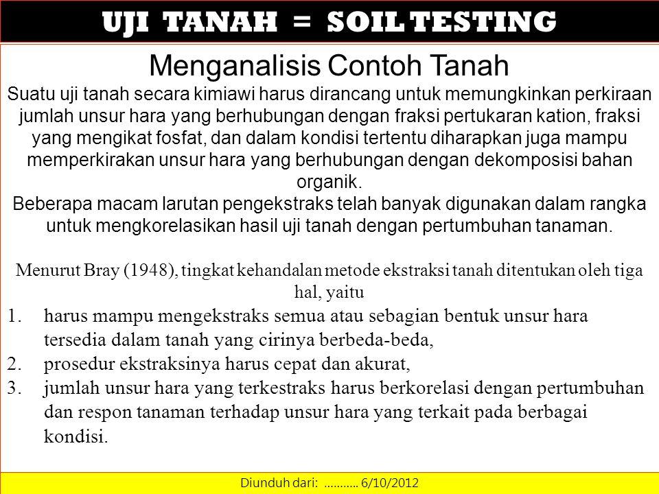 UJI TANAH = SOIL TESTING Diunduh dari: ……….. 6/10/2012 Menganalisis Contoh Tanah Suatu uji tanah secara kimiawi harus dirancang untuk memungkinkan per