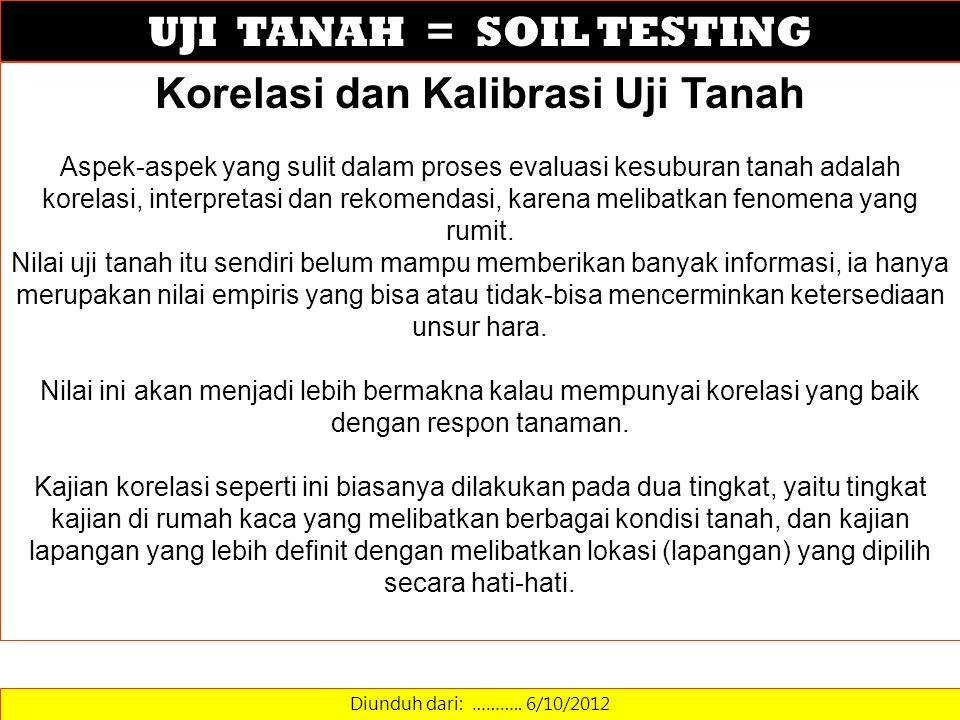 UJI TANAH = SOIL TESTING Diunduh dari: ……….. 6/10/2012 Korelasi dan Kalibrasi Uji Tanah Aspek-aspek yang sulit dalam proses evaluasi kesuburan tanah a