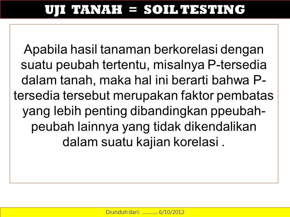 UJI TANAH = SOIL TESTING Diunduh dari: ……….. 6/10/2012 Apabila hasil tanaman berkorelasi dengan suatu peubah tertentu, misalnya P-tersedia dalam tanah