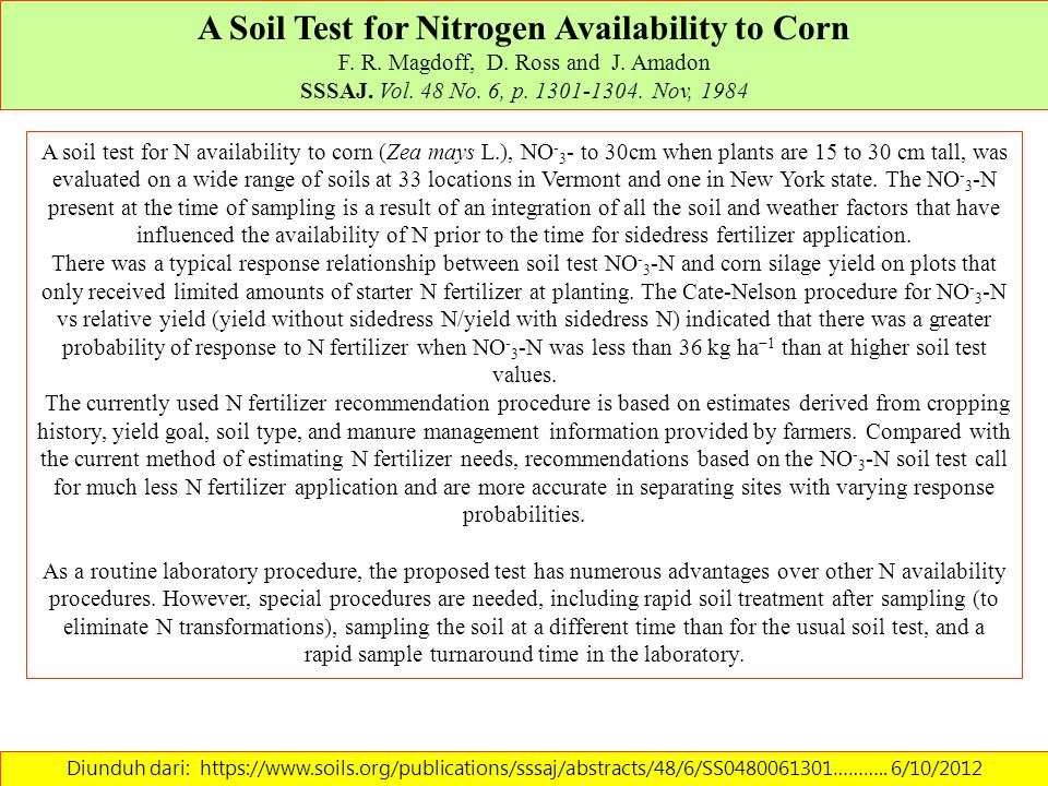 A Soil Test for Nitrogen Availability to Corn F. R. Magdoff, D. Ross and J. Amadon SSSAJ. Vol. 48 No. 6, p. 1301-1304. Nov, 1984 Diunduh dari: https:/