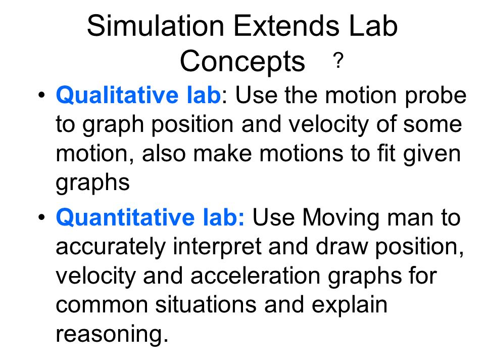 ? Simulation Extends Lab Concepts Qualitative lab: Use the motion probe to graph position and velocity of some motion, also make motions to fit given