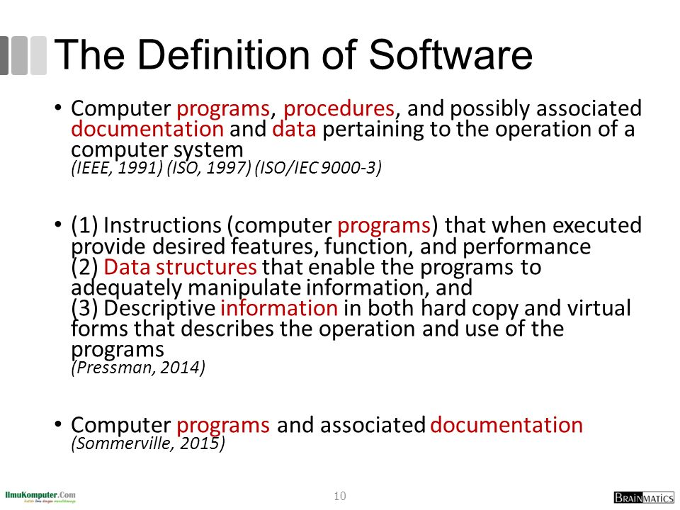The Definition of Software Computer programs, procedures, and possibly associated documentation and data pertaining to the operation of a computer sys