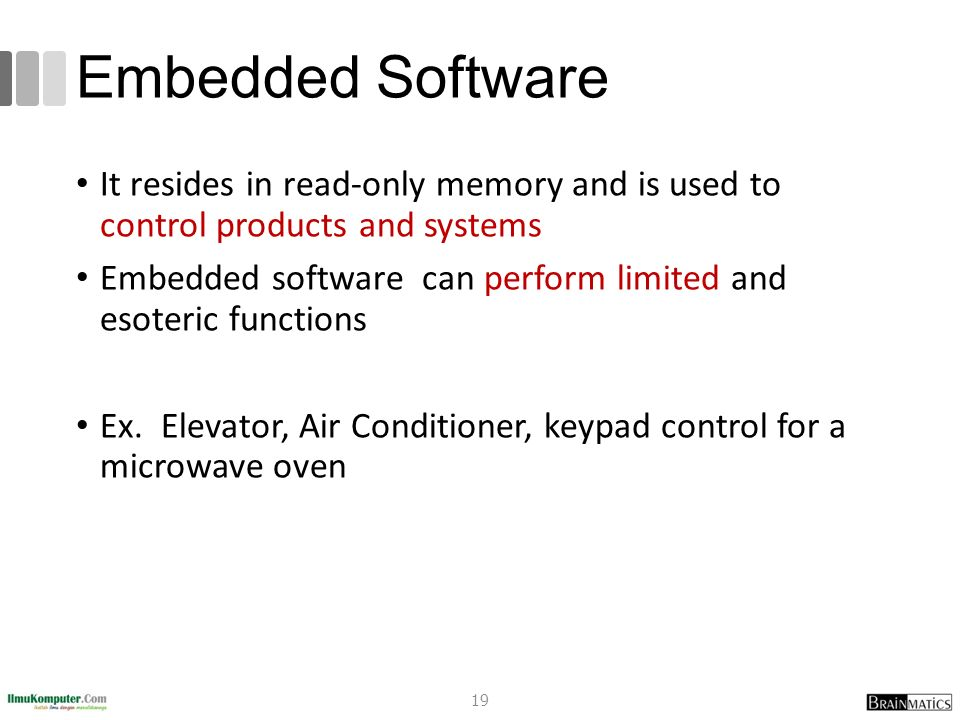 Embedded Software It resides in read-only memory and is used to control products and systems Embedded software can perform limited and esoteric functi