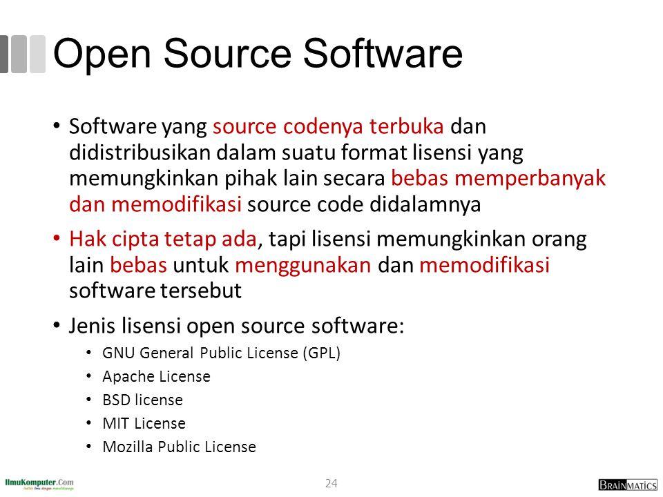 Open Source Software Software yang source codenya terbuka dan didistribusikan dalam suatu format lisensi yang memungkinkan pihak lain secara bebas mem