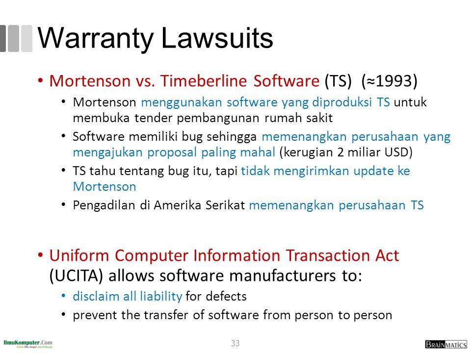 Warranty Lawsuits Mortenson vs. Timeberline Software (TS) (≈1993) Mortenson menggunakan software yang diproduksi TS untuk membuka tender pembangunan r