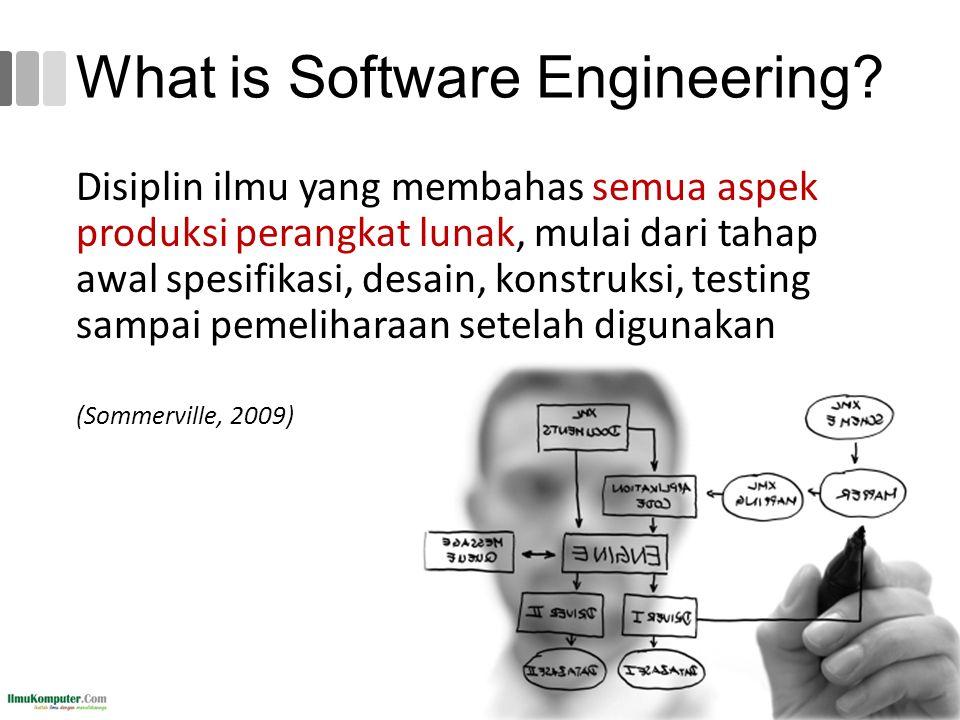 What is Software Engineering? 39 Disiplin ilmu yang membahas semua aspek produksi perangkat lunak, mulai dari tahap awal spesifikasi, desain, konstruk