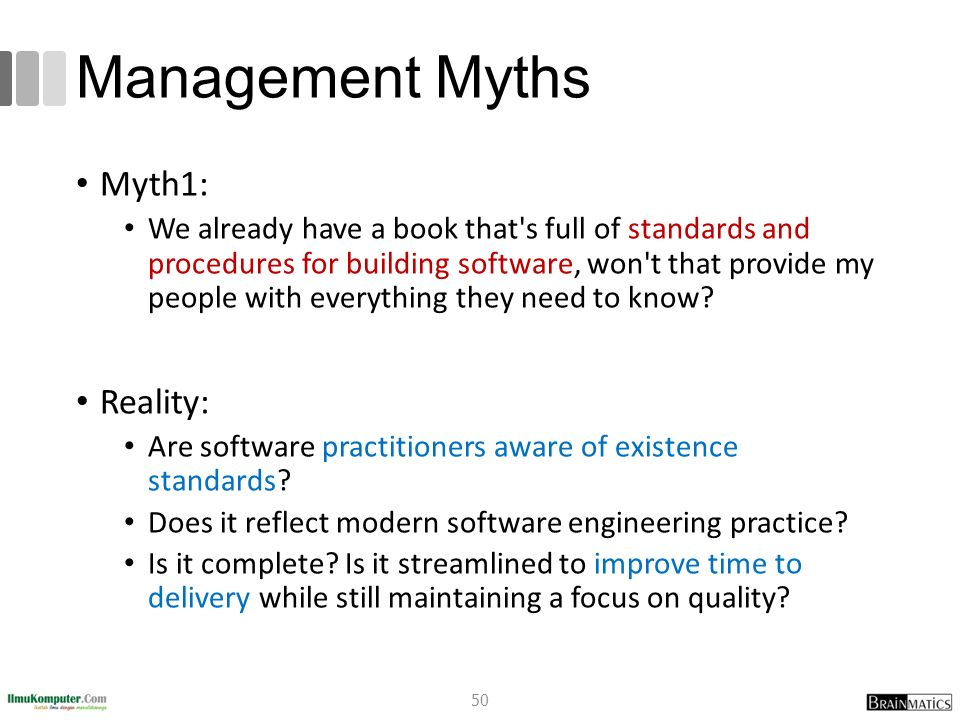 Management Myths Myth1: We already have a book that's full of standards and procedures for building software, won't that provide my people with everyt