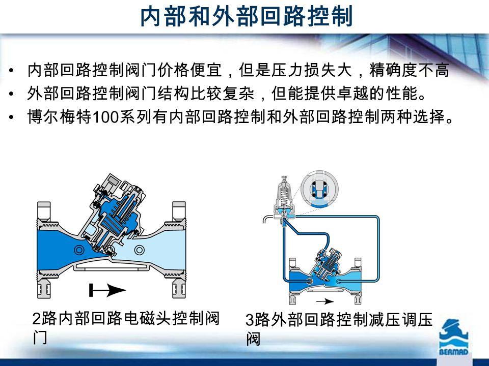 内部和外部回路控制 2 路内部回路电磁头控制阀 门 3 路外部回路控制减压调压 阀 内部回路控制阀门价格便宜,但是压力损失大,精确度不高 外部回路控制阀门结构比较复杂,但能提供卓越的性能。 博尔梅特 100 系列有内部回路控制和外部回路控制两种选择。