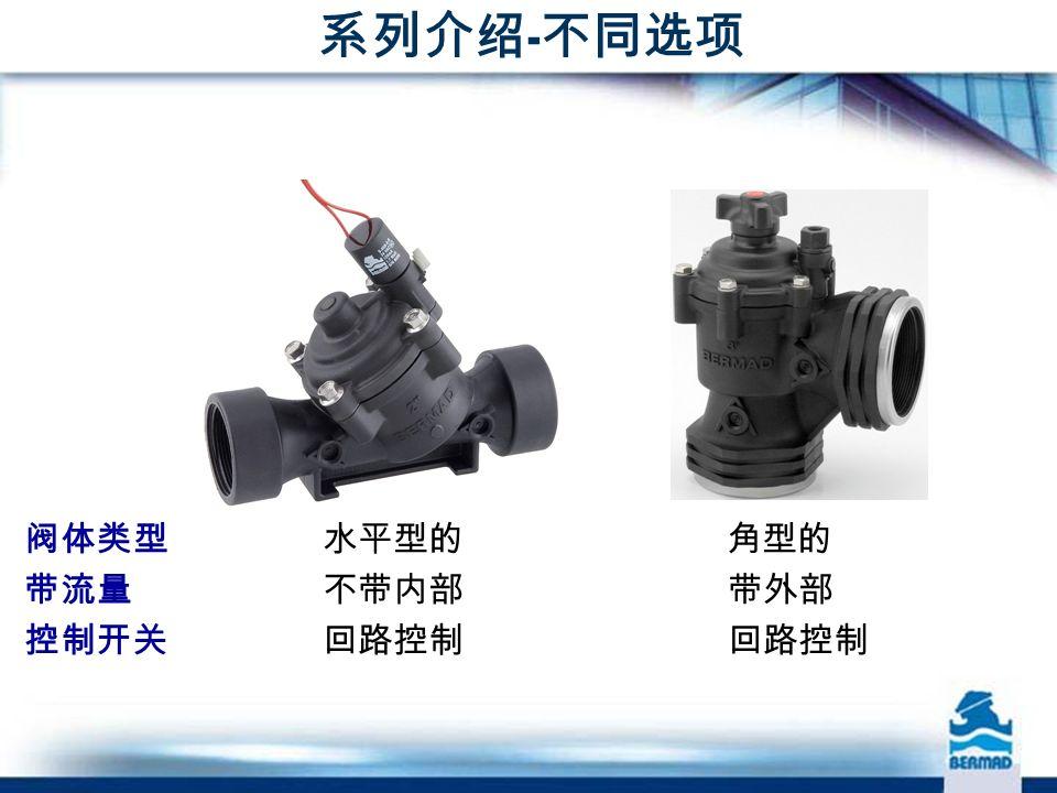 系列介绍 - 不同选项 阀体类型 水平型的 角型的 带流量 不带内部 带外部 控制开关 回路控制 回路控制