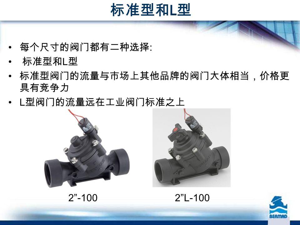 标准型和 L 型 每个尺寸的阀门都有二种选择 : 标准型和 L 型 标准型阀门的流量与市场上其他品牌的阀门大体相当,价格更 具有竞争力 L 型阀门的流量远在工业阀门标准之上 2 -100 2 L-100