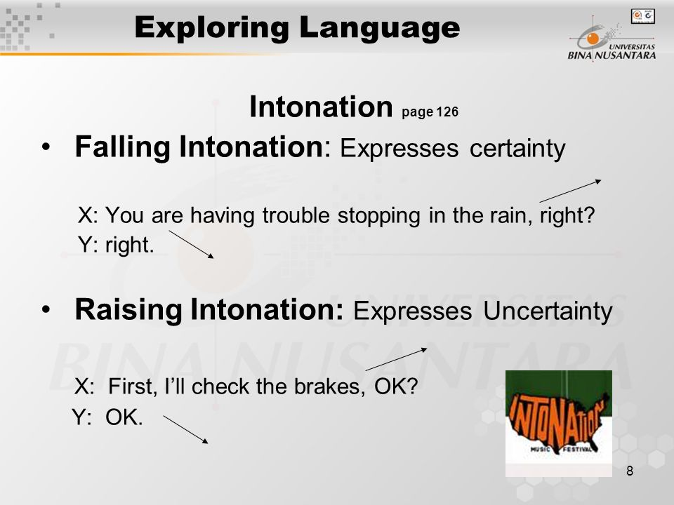 8 Exploring Language Intonation page 126 Falling Intonation: Expresses certainty X: You are having trouble stopping in the rain, right.