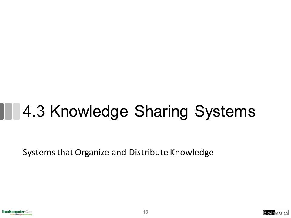4.3 Knowledge Sharing Systems Systems that Organize and Distribute Knowledge 13