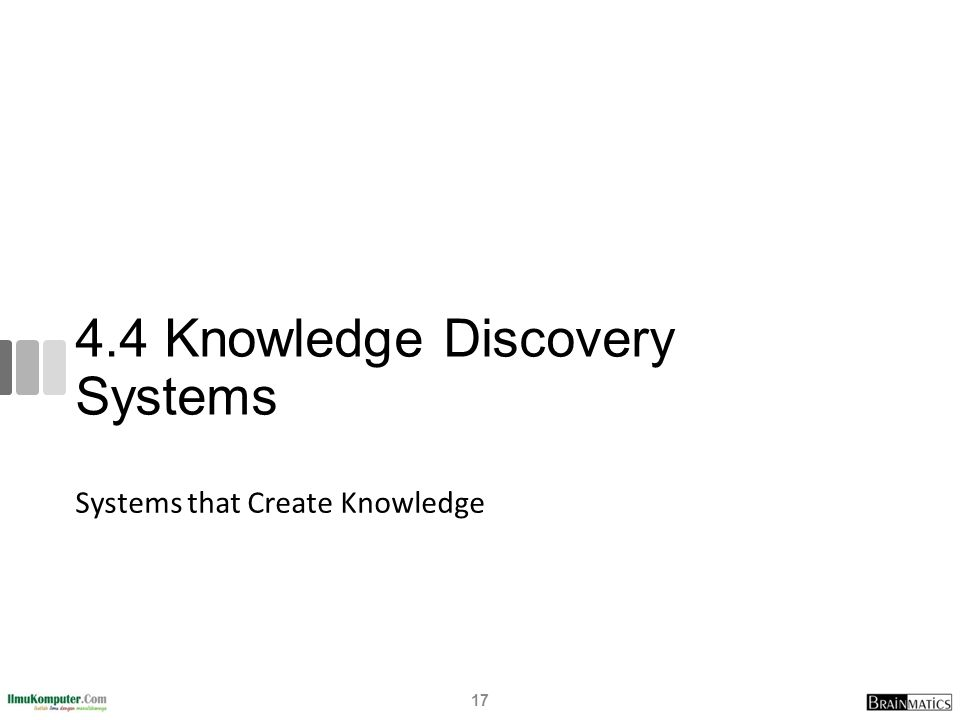 4.4 Knowledge Discovery Systems Systems that Create Knowledge 17