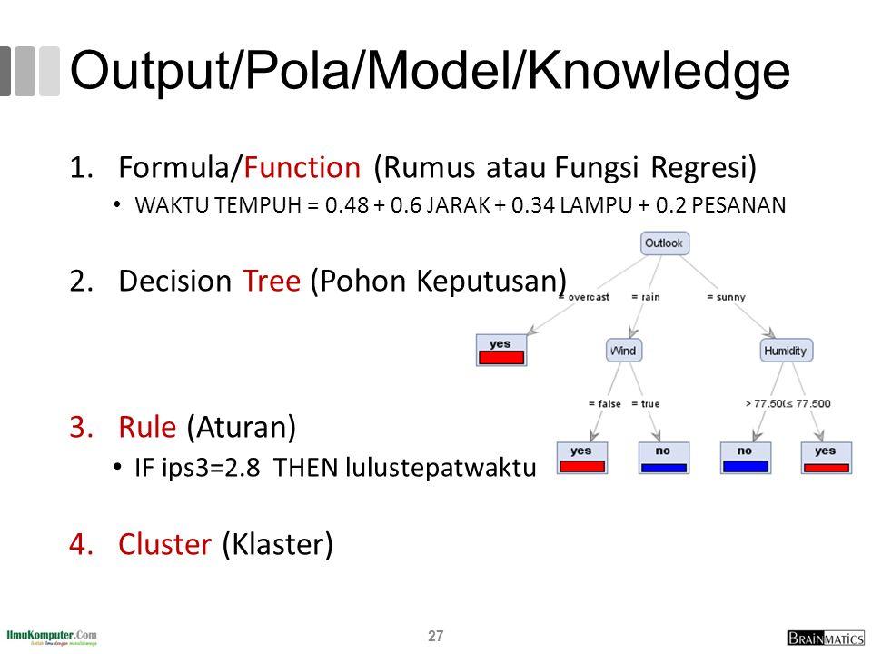 Output/Pola/Model/Knowledge 1.Formula/Function (Rumus atau Fungsi Regresi) WAKTU TEMPUH = 0.48 + 0.6 JARAK + 0.34 LAMPU + 0.2 PESANAN 2.Decision Tree (Pohon Keputusan) 3.Rule (Aturan) IF ips3=2.8 THEN lulustepatwaktu 4.Cluster (Klaster) 27