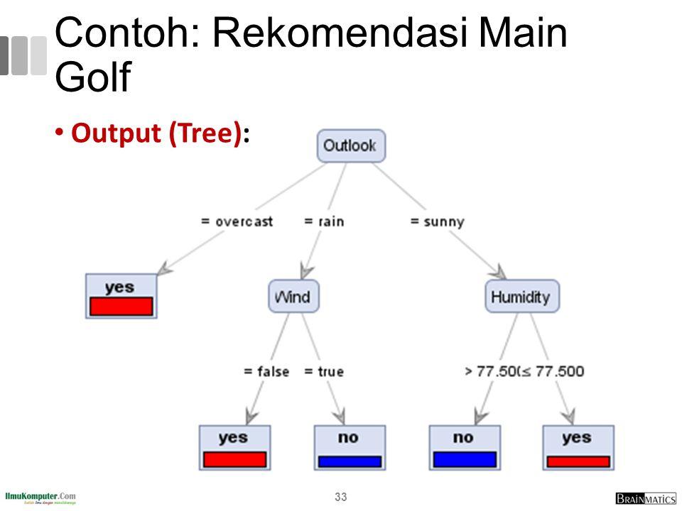 Contoh: Rekomendasi Main Golf Output (Tree): 33