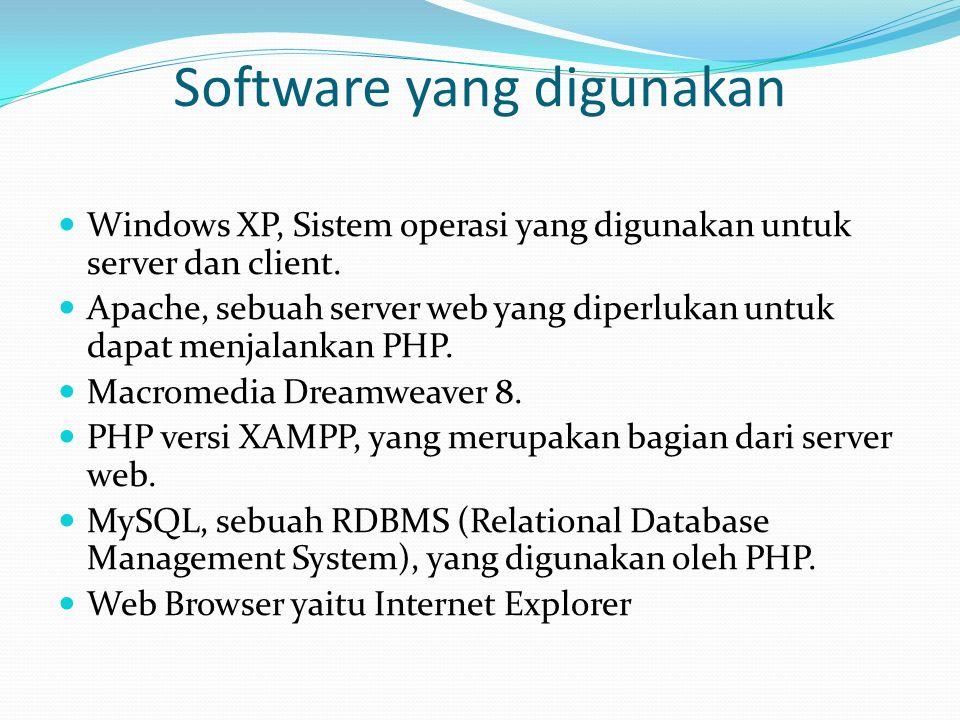 Software yang digunakan Windows XP, Sistem operasi yang digunakan untuk server dan client. Apache, sebuah server web yang diperlukan untuk dapat menja