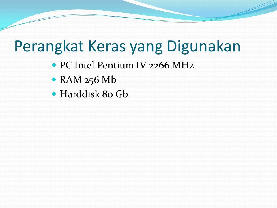 Perangkat Keras yang Digunakan PC Intel Pentium IV 2266 MHz RAM 256 Mb Harddisk 80 Gb