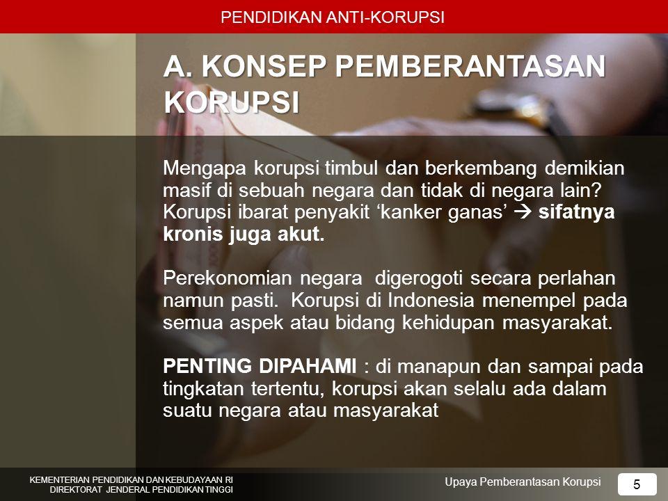 5 A. KONSEP PEMBERANTASAN KORUPSI Mengapa korupsi timbul dan berkembang demikian masif di sebuah negara dan tidak di negara lain? Korupsi ibarat penya