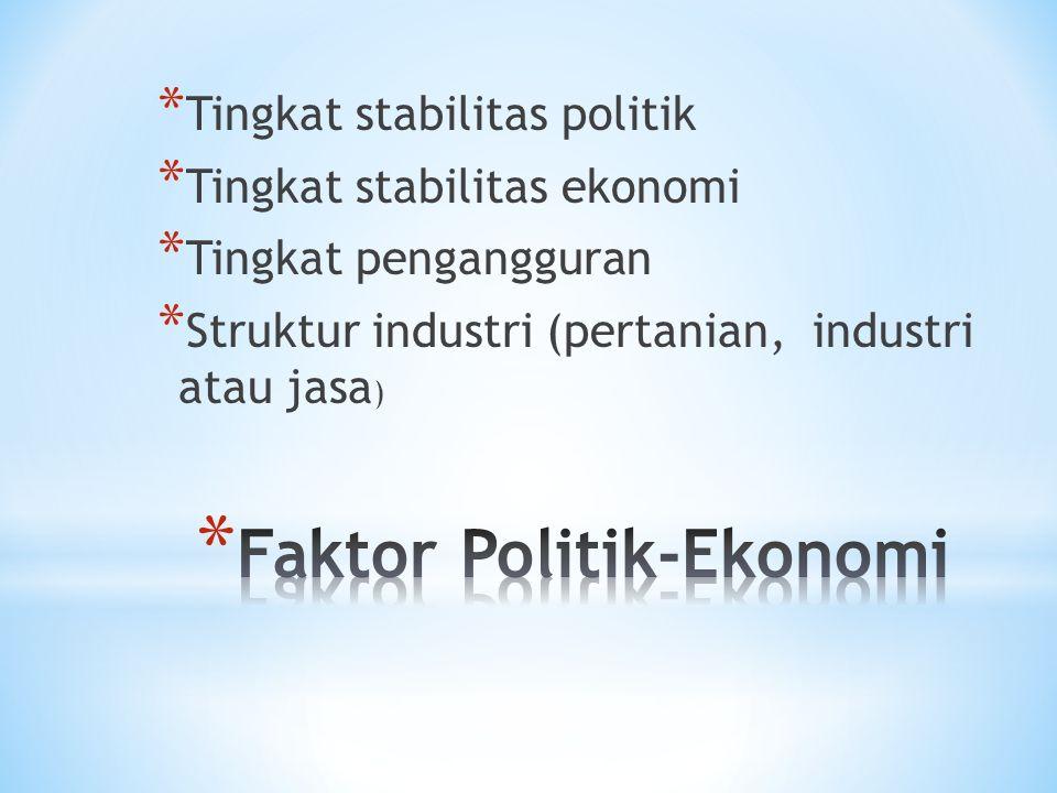 * Tingkat stabilitas politik * Tingkat stabilitas ekonomi * Tingkat pengangguran * Struktur industri (pertanian, industri atau jasa )