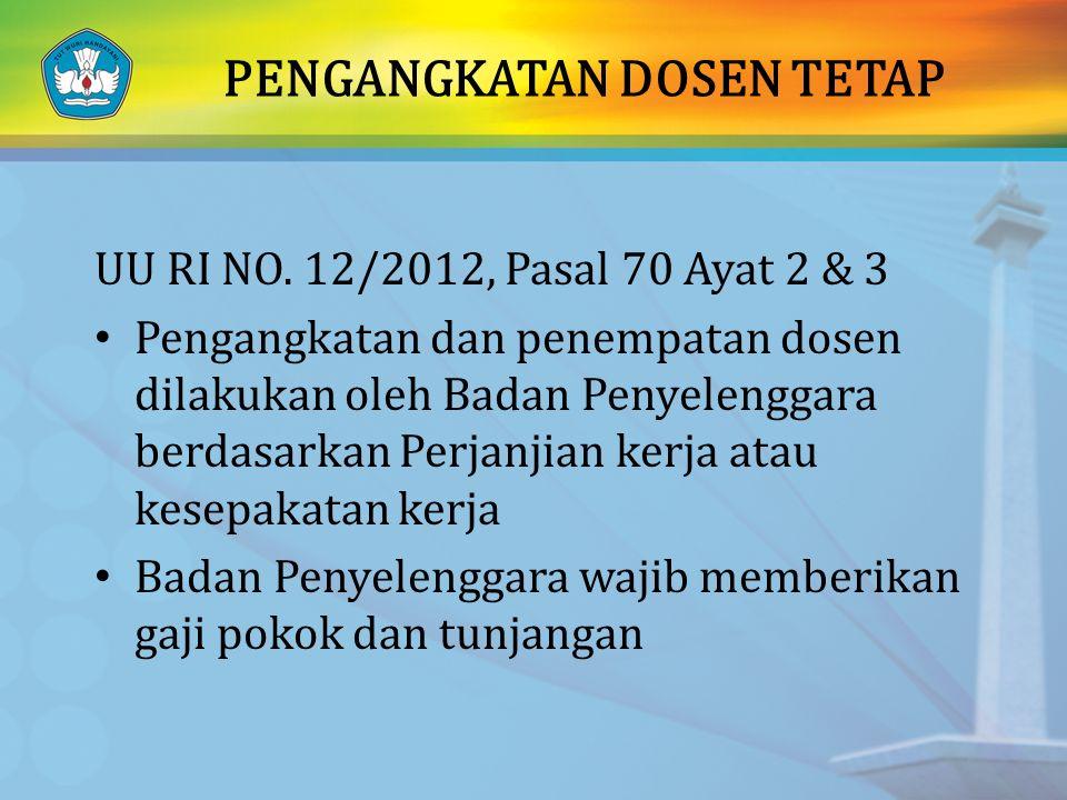 PENGANGKATAN DOSEN TETAP UU RI NO. 12/2012, Pasal 70 Ayat 2 & 3 Pengangkatan dan penempatan dosen dilakukan oleh Badan Penyelenggara berdasarkan Perja