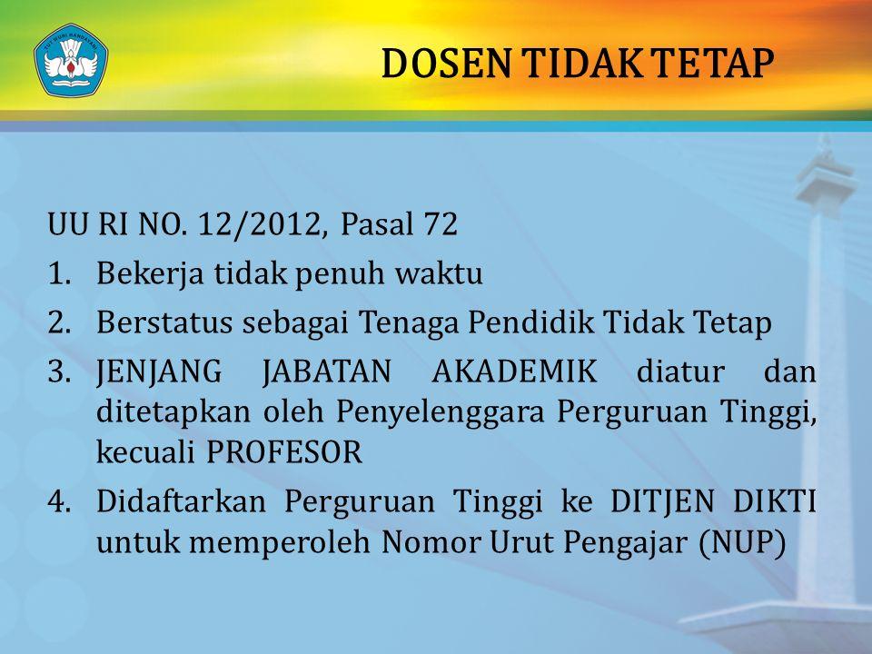 DOSEN TIDAK TETAP UU RI NO. 12/2012, Pasal 72 1.Bekerja tidak penuh waktu 2.Berstatus sebagai Tenaga Pendidik Tidak Tetap 3.JENJANG JABATAN AKADEMIK d
