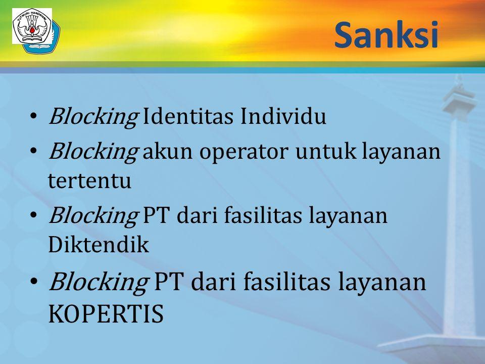 Sanksi Blocking Identitas Individu Blocking akun operator untuk layanan tertentu Blocking PT dari fasilitas layanan Diktendik Blocking PT dari fasilit