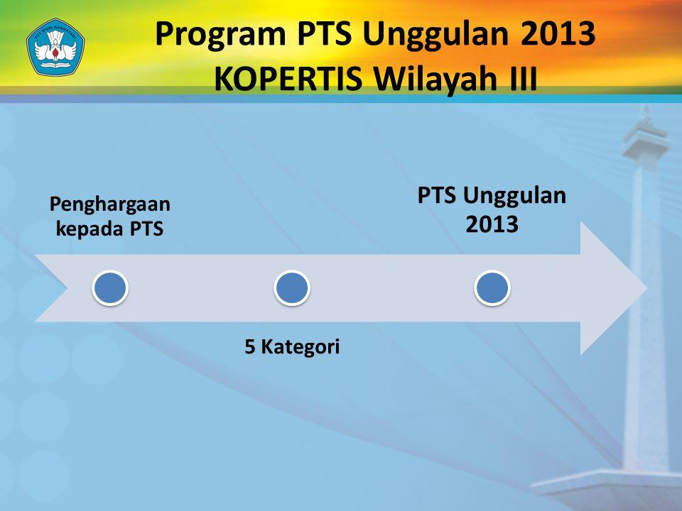 Program PTS Unggulan 2013 KOPERTIS Wilayah III Penghargaan kepada PTS 5 Kategori PTS Unggulan 2013