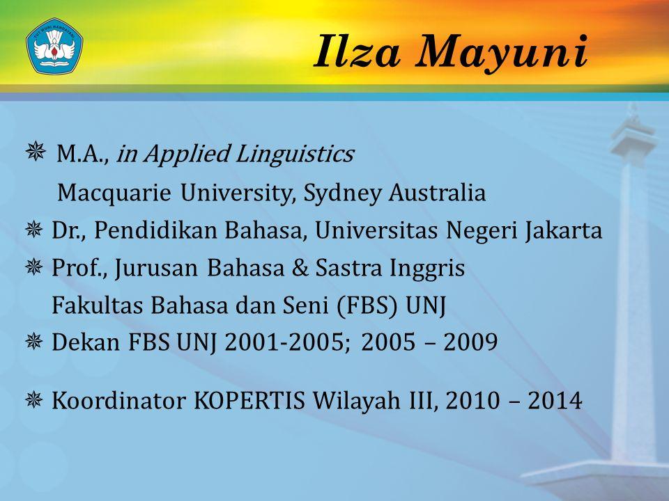 Ilza Mayuni  M.A., in Applied Linguistics Macquarie University, Sydney Australia  Dr., Pendidikan Bahasa, Universitas Negeri Jakarta  Prof., Jurusa