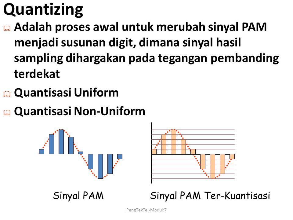 Quantizing  Adalah proses awal untuk merubah sinyal PAM menjadi susunan digit, dimana sinyal hasil sampling dihargakan pada tegangan pembanding terde