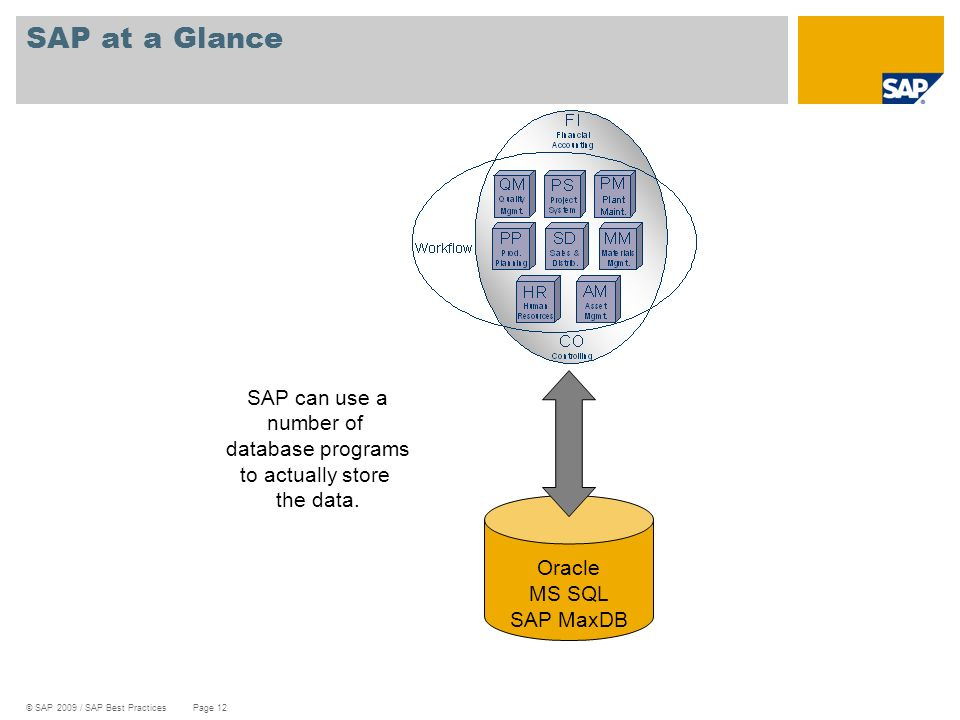 © SAP 2009 / SAP Best Practices Page 12 SAP at a Glance Oracle MS SQL SAP MaxDB SAP can use a number of database programs to actually store the data.