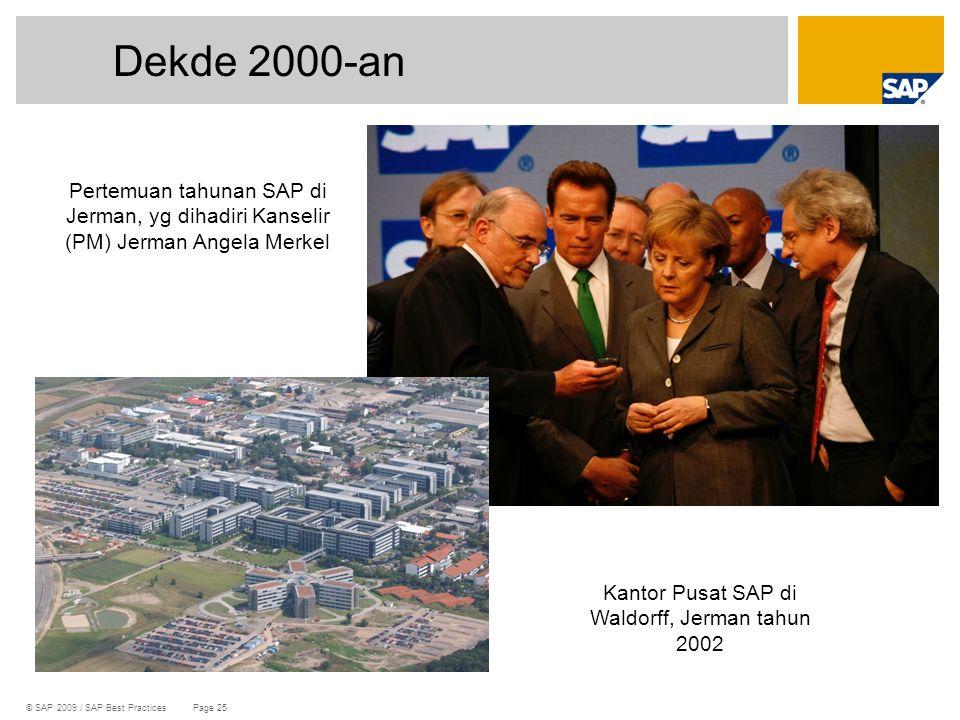 © SAP 2009 / SAP Best Practices Page 25 Dekde 2000-an Pertemuan tahunan SAP di Jerman, yg dihadiri Kanselir (PM) Jerman Angela Merkel Kantor Pusat SAP