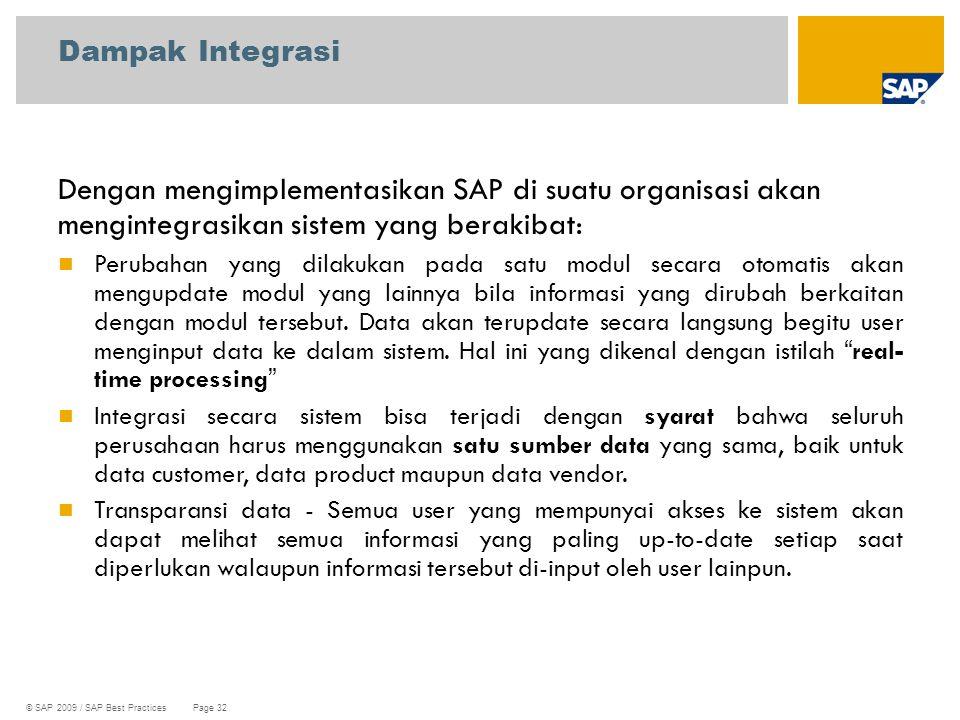 © SAP 2009 / SAP Best Practices Page 32 Dengan mengimplementasikan SAP di suatu organisasi akan mengintegrasikan sistem yang berakibat: Perubahan yang