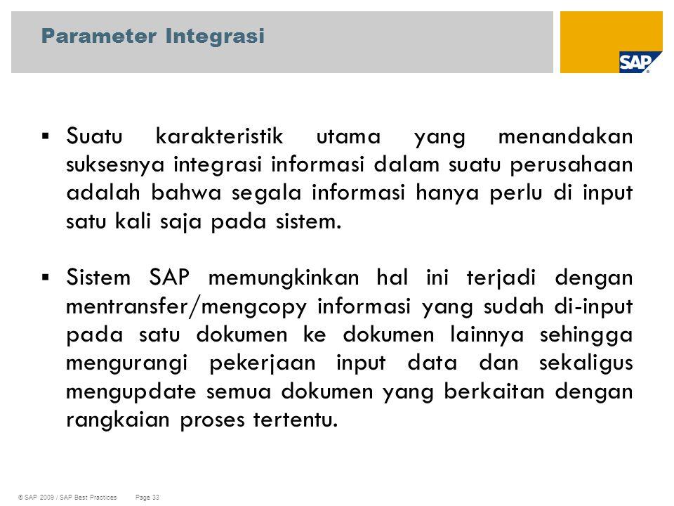 © SAP 2009 / SAP Best Practices Page 33  Suatu karakteristik utama yang menandakan suksesnya integrasi informasi dalam suatu perusahaan adalah bahwa