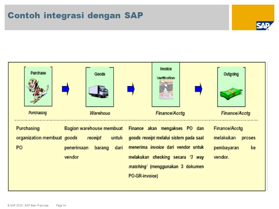 © SAP 2009 / SAP Best Practices Page 34 Contoh integrasi dengan SAP